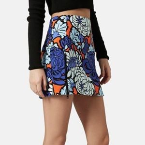 TopShop Petite Floral Mini Skirt with Side Zippers